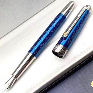 PM novos estilos de luxo Edição Especial Pequeno Príncipe Com Serial Número Azul Carving clássico M4810 Nib Fountain Pen + Ink Gift + presente Plush Pouch