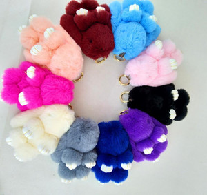 14cm Cute Pluff Bunny Keychain Rex Genuine Rabbit Fur Key Chains For Women Bag Toys Doll Fluffy Pom Pom Lovely Car Pendant Pompom Keyring