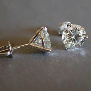 Accessoires de bijoux Femme de luxe 6/7 / 8mm de laboratoire rond Diamant 100% véritable 925 boucles d'oreilles en argent sterling pour femmes petits goujons de goujon à vis