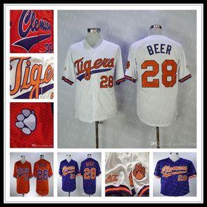 Alta Qualidade baratos Clemson Tigers NCAA Baseball Seth Beer 28 Início estrada longe Sewn Jerseys Atacado Tudo costurado Sports Shirts
