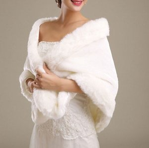 Womens Ladies Wedding Shawl Faux Fur Cashmere Bride Cape Winter Shrug Bolero White