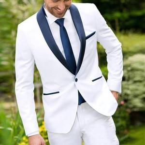 2019 Costume blanc Hommes avec Noir Châle Costume Blazer Lapel Groomsman + Pantalons Custom Made Groom Tuxedo meilleur homme costume pour le mariage
