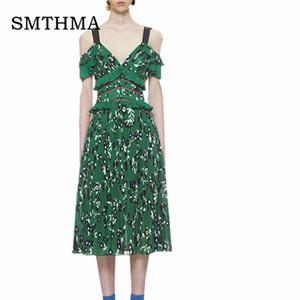 Smthma 2019 Nouvelle Arrivée Haute Qualité Même Portrait Piste Été Vert Fleur Imprimer Femmes Robe S -xxl Y19070901