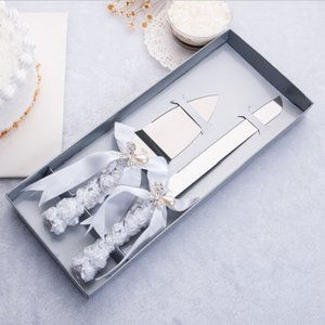 Qianxiaozhen Wedding Favors And Gifts Personalized Elegant Butterfly Wedding Cake Knife Serving Set Decoration Custom