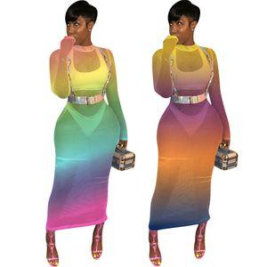 Yaz Kadın Giyim Hollow Baskılı Tasarımcı Elbise Seksi Yeşil Gece Kulübü Elbiseler Artı Boyutu S-2XL See Through