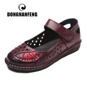 DONGNANFENG Frauen Mutter weiblich Damen Schuhe Sandalen kühle Strand-Sommer-Kuh-echtes Leder Pigskin Höhle-Entwurf 35-41 MLD-8315