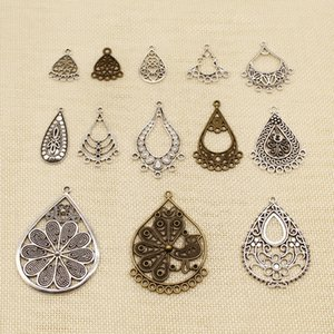 40 Pieces Mix Jewelry Findings Components Drop-Shaped Hollow Earrings Porous Connector HJ258