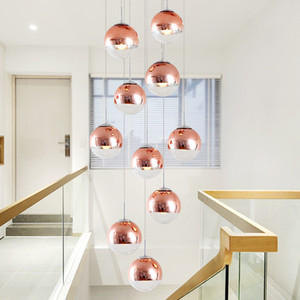 Pendentif cage d'escalier lumières lampe villa moderne verre bronze antique créatif lumière luxe minimaliste boule de verre 15M lampes suspendues