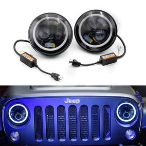 """Racing 2pcs set 7"""" Inch 60W LED Headlight lamps H4 - H13 White Full Halo Angel Eyes FOR Jeep Wrangler JK TJ TT100975"""