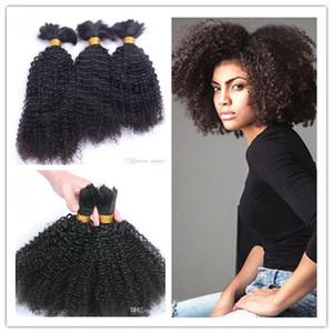 Brasileira virgem humano kinky curly full end extensões de cabelo a granel trança não transformados curly natural cor preta extensões humanas