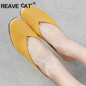 REAVE CAT женщины обувь из натуральной кожи дамы флип-флоп высокое качество корова кожа сферический каблук черный желтый повседневная прохладный A1625