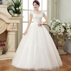 새로운 큰 매듭 웨딩 드레스 슬림 얇은 어깨 레이스 꽃 웨딩 드레스