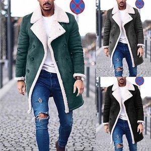 남성 캐주얼 롱 코트 디자이너 솔리드 트렌치 코트 패션 양털 겨울 재킷 플러스 사이즈를 따뜻하게 남성