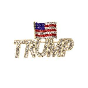 Trump Brooch 2 Styles 2020 Bling Diamond American Flag Brooch Patriotic Republican Campaign Pin Commemorative Brooch Free Shipping IIA15