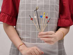 일회용 과일 체크 과일 삽입 대나무 화려한 꽃 문자열 칵테일 장식 체크 과일 포크