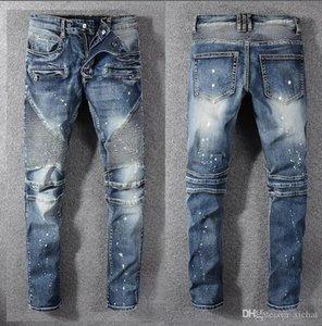 Mens Fold magro pintado Jeans Fashion Designer lavado plissadas Painéis Zipper Slim Fit Motociclista Hip Hop Denim Pants 1077