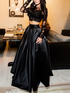 Black Two Pieces Set Evening Gown Lace Tops Satin A-line Prom Dress for Special Occations Custom Made