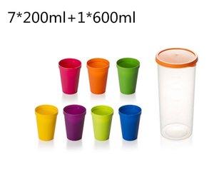 أرخص 8PCS البلاستيك واسعة كوب الفم شرب كوب مفيد قوس قزح ملون السفر نزهة في الهواء الطلق المحمولة