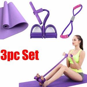 Yoga Mat Set cubierta Bandas resistencia de la aptitud Aparatos para hacer ejercicio elástico del pedal 8 Forma Bandas tire de la cuerda del entrenamiento del tobillo del deporte del tirador