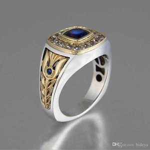2019 New Men Blue Diamond Rings With Side Crystals Fashion Hip Hop Two Colors Gold And Silver Jewelry Finger Rings Accessories
