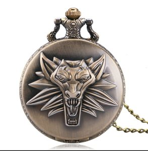 Hot Game Wild Hunt Quartz Pocket Watch Awesome Roaring Wolf Head Necklace Pendant Chain Christmas Gifts Watch