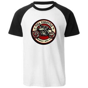 Summer Trend Raglan Short Sleeve Homme Tee Shirt Full Throttle Cafe Racer Rockabilly Biker New Men T-Shirts Mens Cool Neck Top