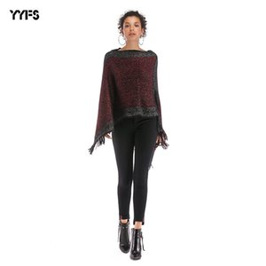 Womens Autumn and Winter Best Selling Color Matching Word Collar Tassled Shawl Bat Sleeve Sweater Jacket Women