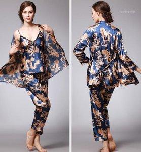 Kadın Tasarımcı Pijama İlkbahar Yaz Nightcoats Seksi Gevşek Nefes 3PCS pijamalar Kadın Giyim Moda Uzun Sleeve Baskı ayarlar