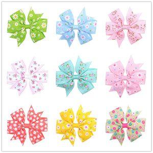 20 colores Baby Bow horquilla Lovely Daisy Sunflower Dot impreso banda acanalada Bobby Pin Grils Barrettes lindos sombreros para Grils regalos C82002
