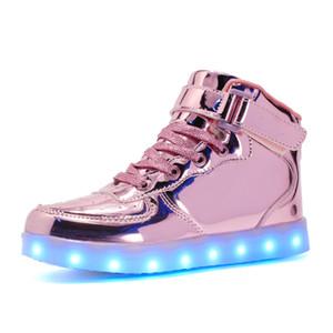 دافئ مثل المنزل 2018 جديد 25-39 شاحن usb متوهجة رياضة led الأطفال الإضاءة أحذية الفتيان الفتيات مضيئة مضيئة رياضة Y18110304