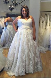 2019 A-Line Wedding Dresses Dentelles florales 3D Appliques Arabe sexy sans bretelles Robes de mariée Perlées Ceinture Perlées lace up Robes de mariée robes de soirée