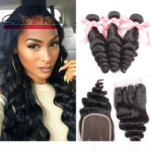 """Natural Color Brazilian Peruvian Hair Extensions Loose Wave 1pc 3 Way Part Top Closure 4""""x4"""" With 3Bundles Human Hair Weaves Great"""