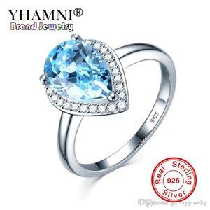 YHAMNI Original Sky Blue Cristal Cubic zirconia Anel 100% 925 Sterling Silver Luxo Anel de Casamento Jóias Para As Mulheres YZR228