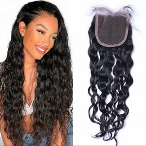 Malaysian Virgin Hair Water Wave Closure Natural Color Human Hair 4*4 Lace Top Closures Bleached Knots