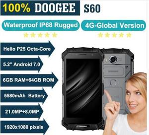 DOOGEE S60 6 GB RAM 64 GB ROM MTK Helio P25 Octa Çekirdek Android 7.0 5.2 '' FHD Ekran IP68 Waterprrof Smartphone 21.0MP 5580 mAh Cep Telefonu