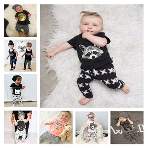 kids clothes boys letter Stripe outfits children print shorts sleeve tops+pants 2pcs set 2021 summer INS baby Clothing Sets C517
