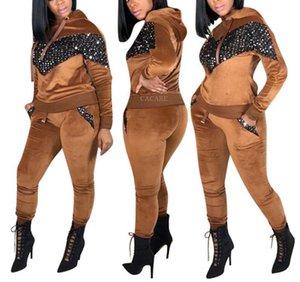 Hoodie 2 Pedaço Pants Sets Mulheres Velvet Lantejoulas Outono Set Mulheres 2 peça Conjuntos Treino Top e calças sweatsuits F2904