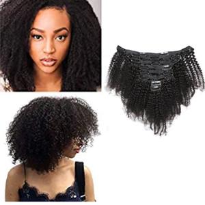Afro Kinky завитые Clip-на наращивание волос индийский волос девственницы 120g Natural Color Afro завитые Clip-на продукты для волос 8pieces / комплект