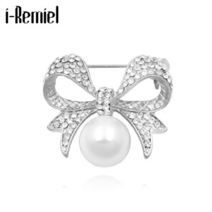 Korean Rhinestone Bow Brooches for Women High-Grade Alloy Pearl Corsage Fashion Scarf Buckle Badge Jewelry Clothing Accessories