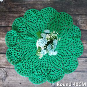 40CM Круглой Современной Army Green Cotton Lace напиток Pad чашка кофе Mat крючок цветы стол Стек Ткань Placemat Pad салфетка