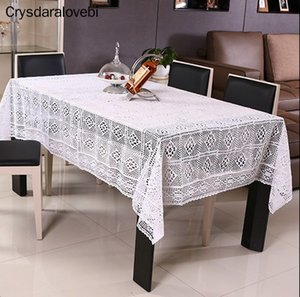 White Lace Crocheted Tablecloth Cotton Rectangle Table Cloth Home Hotel Textile Decor