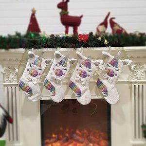 Noel Unicorn Karikatür Hayvan Peluş Asılı Dekorasyon Işık Şeker Çanta Hediyeler Ile Stocking Çanta Parti Şenlikli Malzemeleri 2 stil HH9-2336