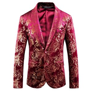 2019 new men blazer wedding groom  bronzing print party swallowtail boutique Slim large size male suit jacket (M-5XL)