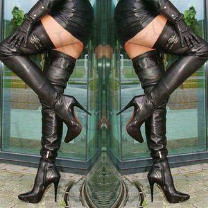 LAIGZEM Super SEXY Femmes Bottes Au Genou Boucles Boucles Talons Talons Cuisse Bottes Elevées Botas Feminina Botines Mujer Grand Taille 4-14
