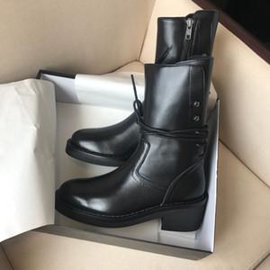 Sıcak satış-Cowskin Martin Ön Arka Kayış Chunky Düşük Topuk Kadınlar Orta Buzağı Boots Bayanlar Ann 19ss Yuvarlak Burun Fermuar Bot Ayakkabı Boyut 35-40