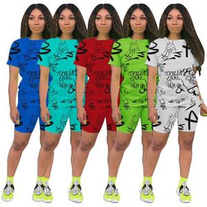 Mulheres Cartas Verão 2pcs Suits executando capuz Tops Shorts Roupa Sets Designer Cintura magro Fatos alta