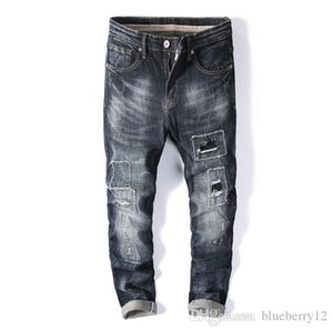 Mens Jeans Summer Hole Patch Trend Slim Stretch Thin Feet Male Straight Long Pants Asian Size 28-38