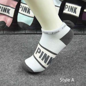 Nuevos estilos Carta rosa Calcetines deportivos Algodón Suave Tobillo corto Calcetines Mujeres Hombres Chicas Moda Gimnasio Fútbol Monopatín Zapatilla de deporte Stocks Medias