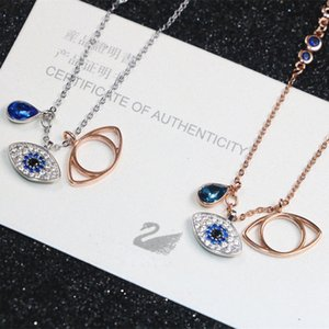 Devil's Eye Pendant Necklaces s925 Sterling Silver Color Blue Diamond Eye Pendant Necklace Female Back Cover Micro Inlay Pendant