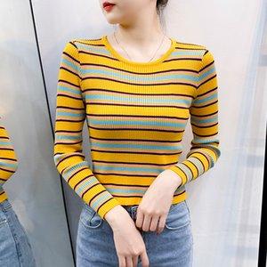 ITOOLIN 2020 di maglia a strisce T-shirt Nuovo Autunno Inverno Donne Studente del vento la maglietta femminile casuale top a manica lunga T-shirt
